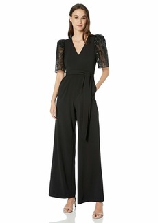 Calvin Klein Women's Short Sleeve V-Neck Jumpsuit with Self Sash Belt
