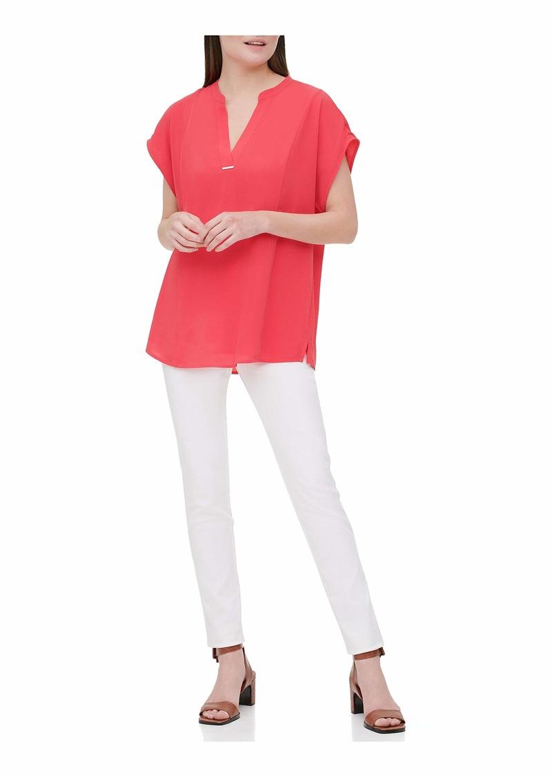 Calvin Klein Women's Short Sleeve V Neck Shirt