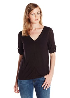 Calvin Klein Women's Short Sleeve V-Neck Sweater