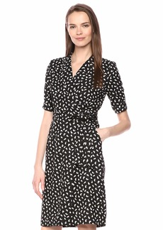 Calvin Klein Women's Short Sleeve V-Neck Wrap Dress with Self Belt