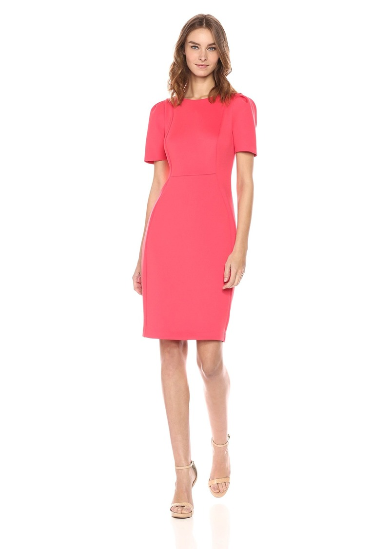 Calvin Klein Women's Short Sleeved Sheath with Princess Seams Dress