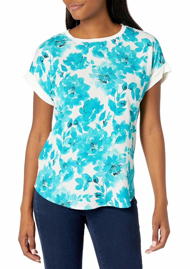 Calvin Klein Women's Short Sleeved TOP with Printed Front  Extra Small