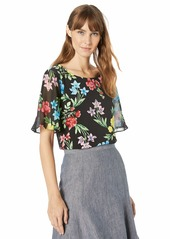 Calvin Klein Women's Short TOP with Chiffon Sleeves
