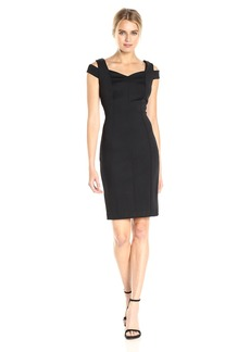 Calvin Klein Women's Shoulder Cut Out Sheath Dress with Sweatheart Neckline