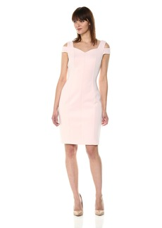 Calvin Klein Women's Shoulder Cut Out Sheath Dress with Sweetheart Neckline