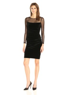 Calvin Klein Women's Side Ruched Velvet Dress with Illusion Sleeves and Yoke