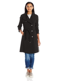 Calvin Klein Women's Single Breasted Double Weave Wool Coat with Belt  L