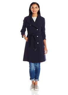 Calvin Klein Women's Single Breasted Double Weave Wool Coat with Belt  XL