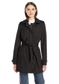 Calvin Klein Women's Single Breasted Soft Shell Trench Coat With Epiplets  S
