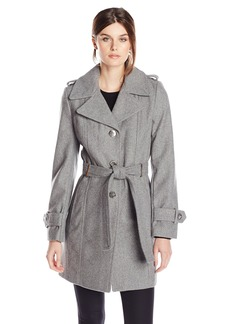 Calvin Klein Women's Single Breasted Wool Coat with Belt