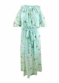Calvin Klein Women's Size Cold Shoulder Maxi Dress with Self-Sash Waist