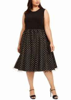 Calvin Klein Women's Size Sleeveless Midi with Tulle Skirt