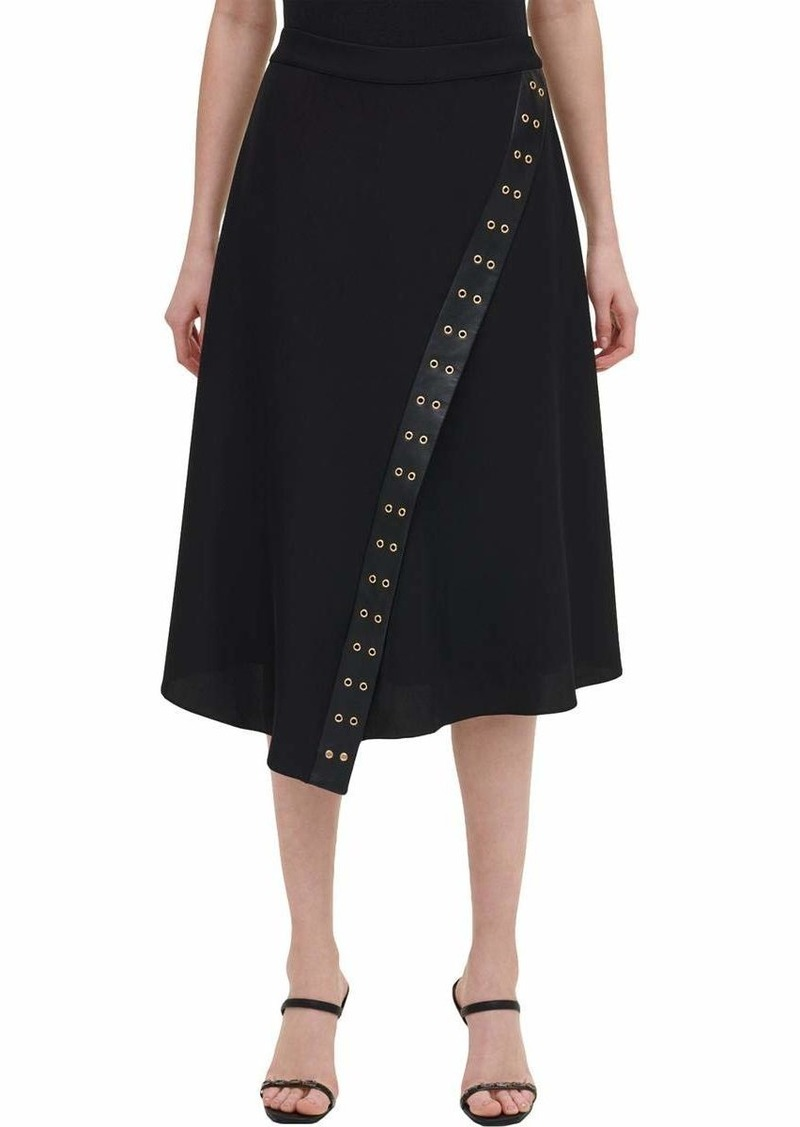 Calvin Klein Women's Skirt with Faux Leather and Rivet Detail
