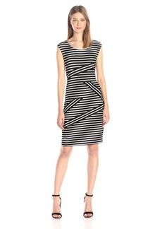 Calvin Klein Women's S/l Dress with Mix Stripe