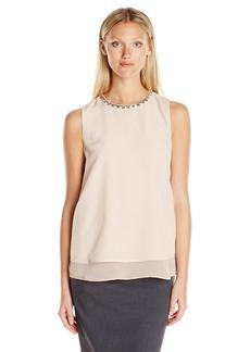 Calvin Klein Women's S/l Jewel Neck Top  XS