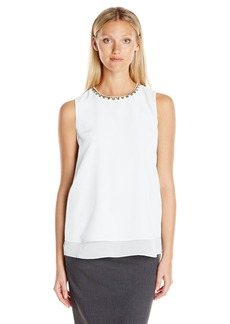 Calvin Klein Women's S/l Jewel Neck Top  XS