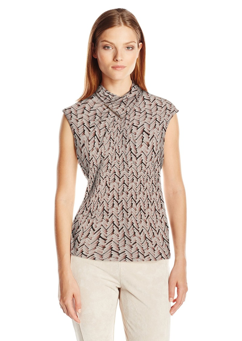 Calvin Klein Women's S/l Printed Top with High Neck Black/Blush Multi CKSP