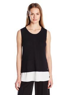 Calvin Klein Women's S/ Sweater W/ Woven Bottom  arge