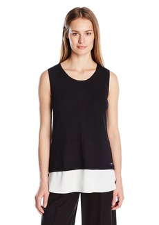 Calvin Klein Women's S/l Sweater with Woven Bottom