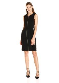 Calvin Klein Women's S/l Textured Dress with Zipper
