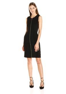 Calvin Klein Women's S/l Textured Dress with Zipper