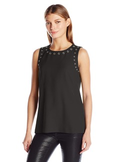 Calvin Klein Women's S/l Top With Grommets  L