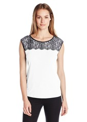 Calvin Klein Women's S/l Top W/ Lace Detail