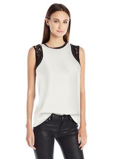 Calvin Klein Women's S/l Top W Lace&Studs  X-Large