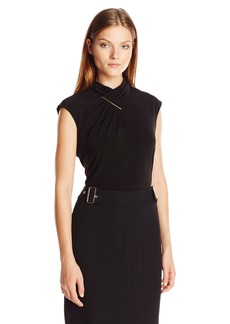Calvin Klein Women's S/l Top With Ruching and Hardware