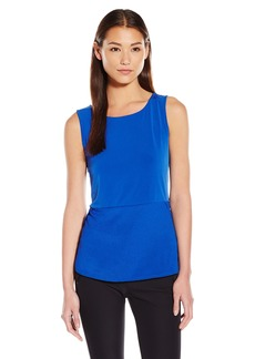 Calvin Klein Women's S/l Top With Woven Bottom  Large