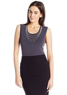 Calvin Klein Women's Sleeveless Top with Chain Necklace  X-Large