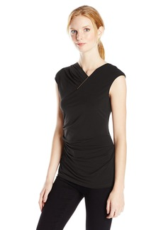Calvin Klein Women's S/l V-Neck with Bar Hardware