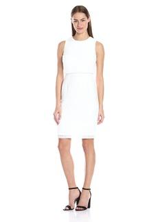 Calvin Klein Women's S/l Window-Pane Double Layer Dress