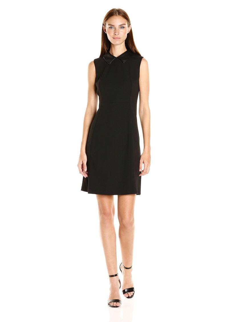 Calvin Klein Women's Sleeveless a-Line Dress with Pu Shirt Collar