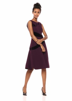 Calvin Klein Women's Sleeveless A Line Dress with Velvet Detail
