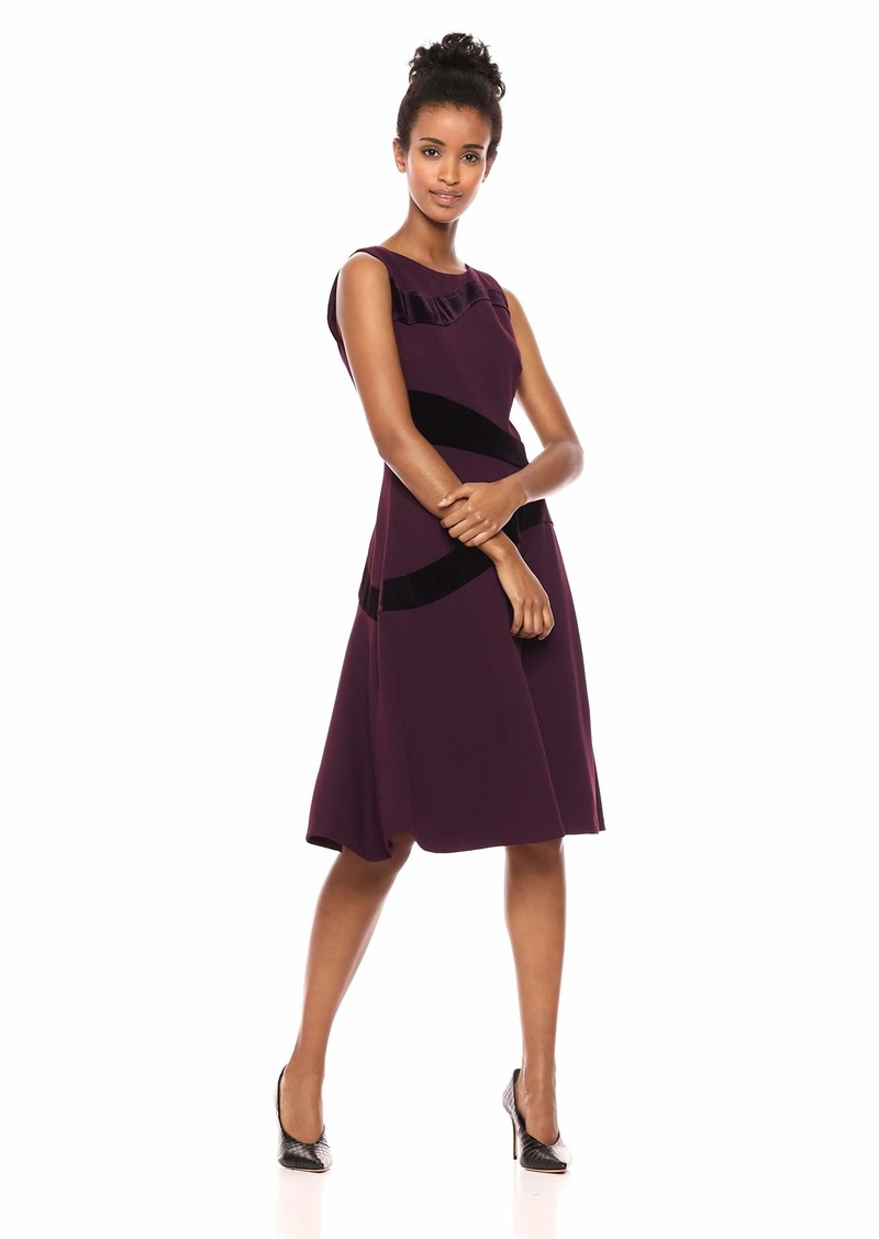 Calvin Klein Women's Sleeveless A Line Dress with Velvet Detail