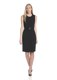 Calvin Klein Women's Sleeveless Belted Suit Dress
