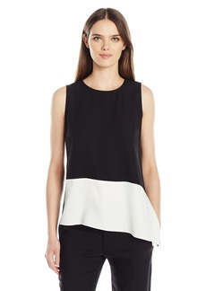 Calvin Klein Women's Sleeveless Blocked Top with Angle Bottom  XS