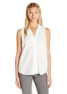 Calvin Klein Women's Sleeveless Blouse with Inverted Pleat  XS