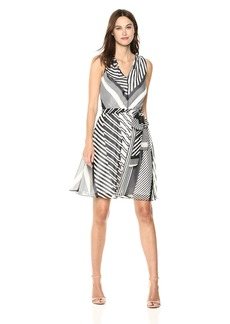 Calvin Klein Women's Sleeveless Chiffon a-Line with Self Sash Dress