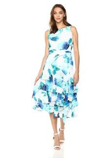 Calvin Klein Women's Sleeveless Chiffon Maxi with Ruffles and Self Sash Dress
