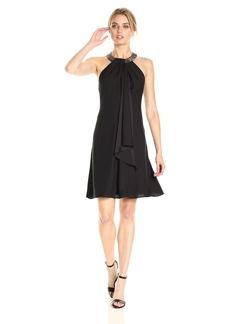 Calvin Klein Women's Sleeveless Cocktail Dress with Embellished Halter Neck