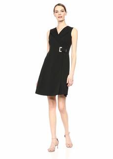 Calvin Klein Women's Sleeveless Collared A Line Faux Wrap Dress