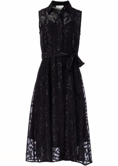 Calvin Klein Women's Sleeveless Collared Dress with Pleated Flared Skirt