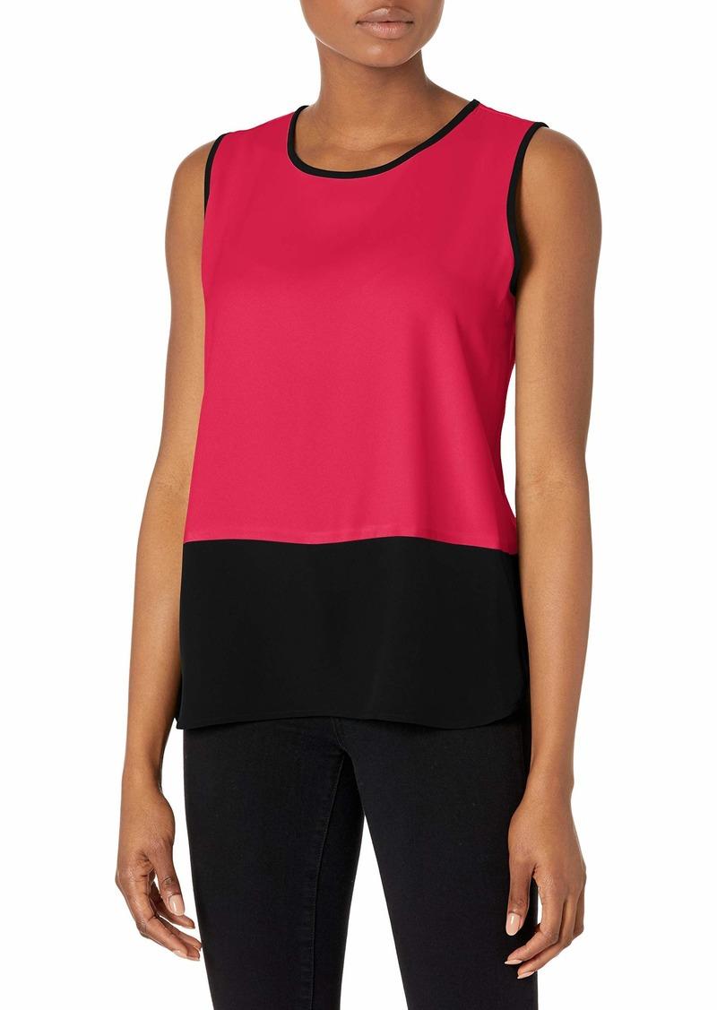 Calvin Klein Women's Sleeveless Color Block Blouse