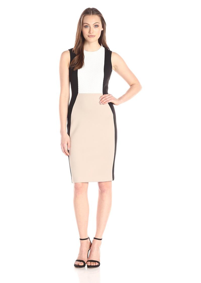 Calvin Klein Women's Sleeveless Color Block Sheath Dress with Novelty Bodice Insert