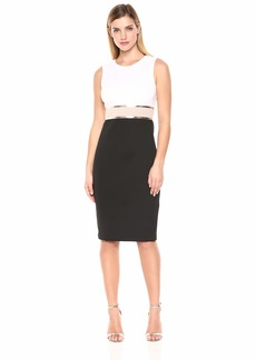 Calvin Klein Women's Sleeveless Color Block Sheath with Metallic Trim Dress