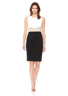 Calvin Klein Women's Sleeveless Color Block Sheath with Metallic Trim Dress
