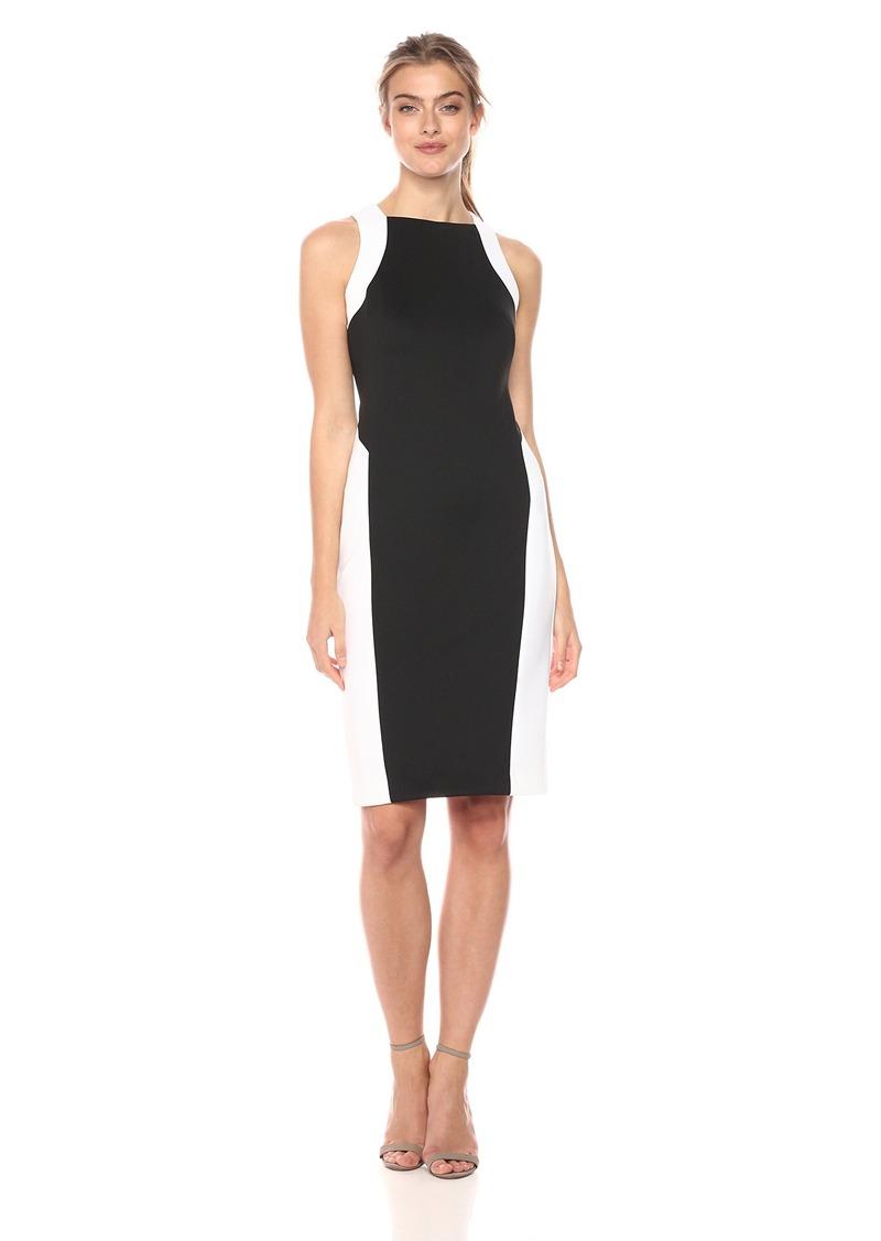 Calvin Klein Women's Sleeveless Color Block Side Panel Dress