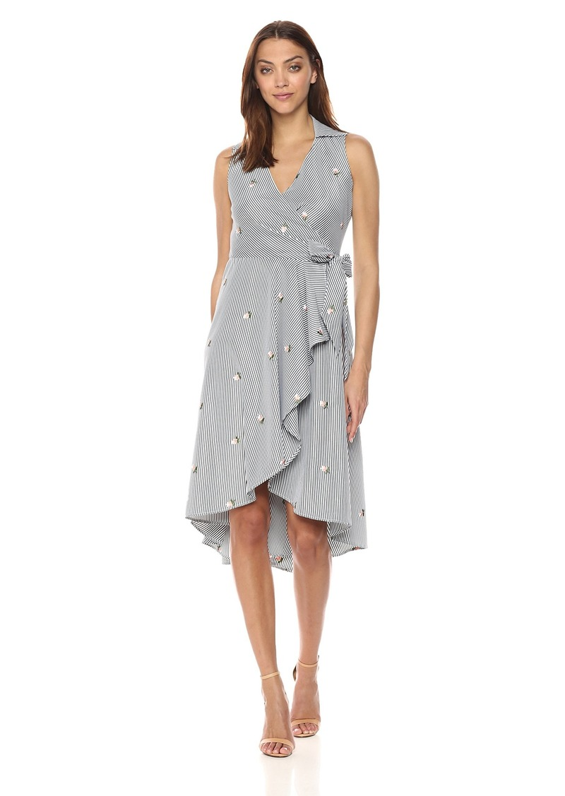 Calvin Klein Women's Sleeveless Cotton Faux Wrap Midi with Collar Dress